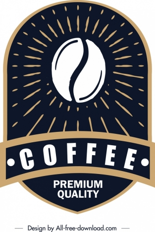 coffee label template classical dark rounded vertical decor vectors