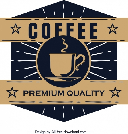 coffee label template dark retro flat polygonal design vectors stock