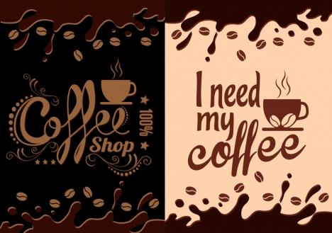 coffee leaflet cover splashing dark brown design