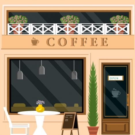 coffee shop facade design in color style