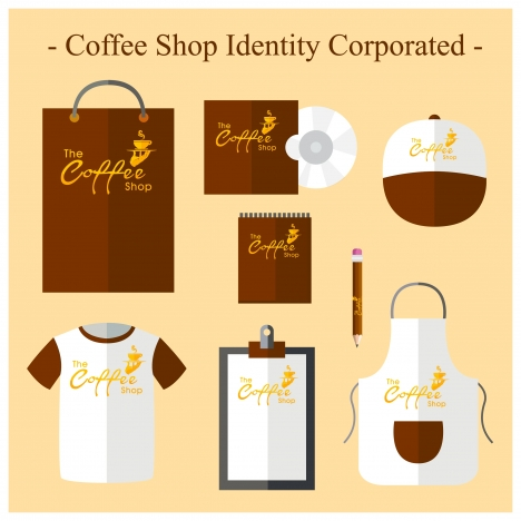 coffee shop identity sets in brown and white