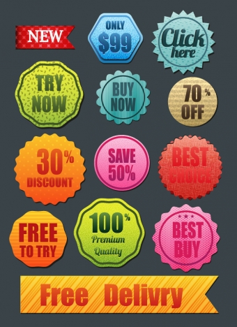 collection of shaped colorful sale promotion icons