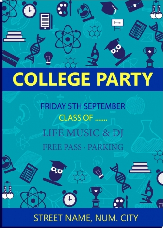 college party poster symbols collection on blue background
