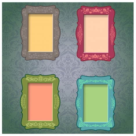 colored blank retro frames collection with classic pattern