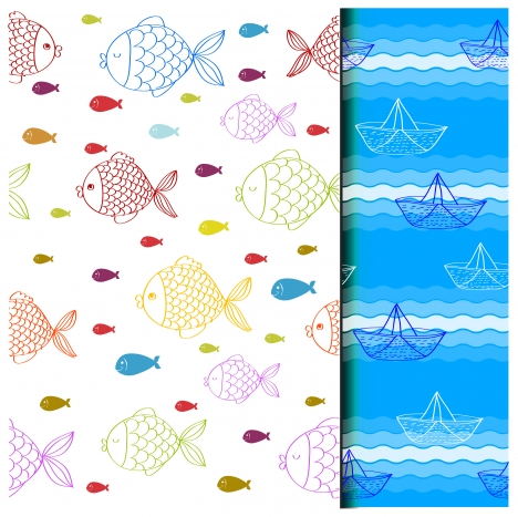 colored drawings of fishes and sea