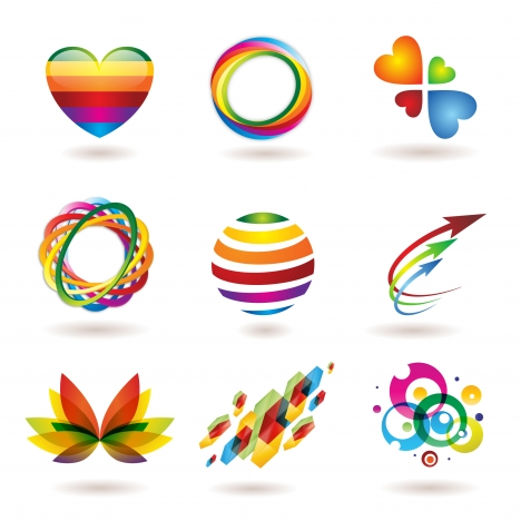 colorful abstract logo element set