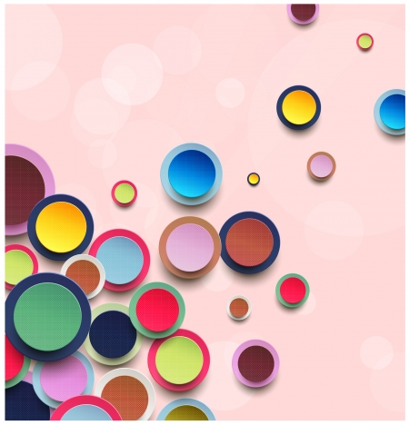 colorful circles vector illustrations with pink background