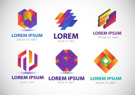 colorful logo design elements with modern abstract style