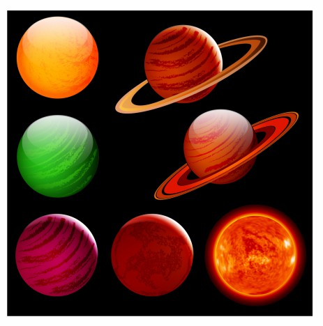 colorful planets