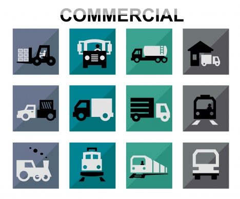 commercial concept icons illustration with various vehicles