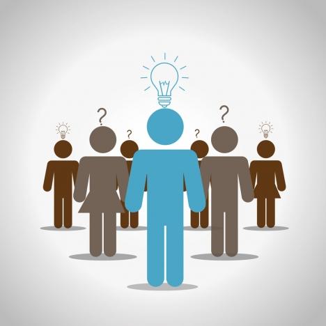 community idea concept design human bulbs icons decoration