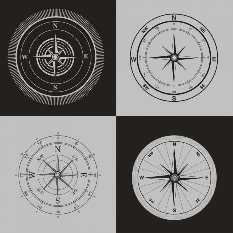 compass icons sets black white retro design