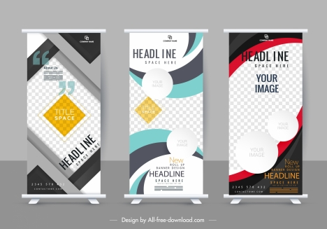 corporate banner templates modern colorful decor vertical design