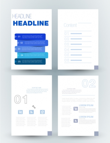 corporate brochure design with layouts illustration