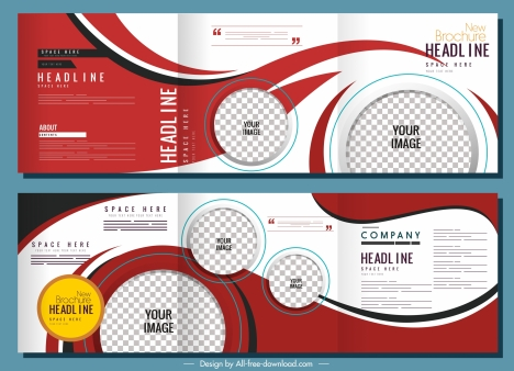 corporate brochure templates modern trifold circle checkered decor