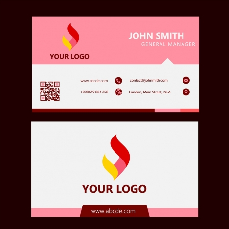 Corporate Business Card Design Logotype In Pink White