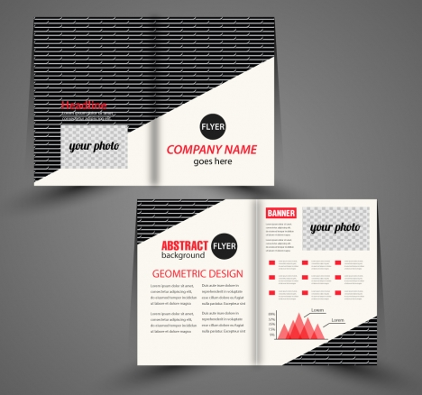 corporate flyer design with black and white background
