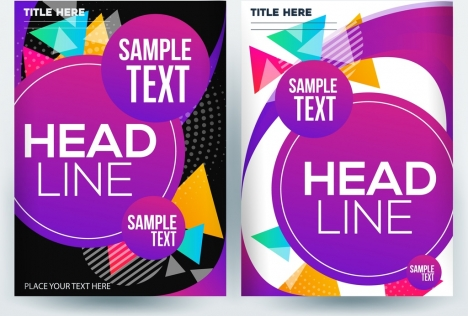 corporate flyer template colorful circles triangles decoration
