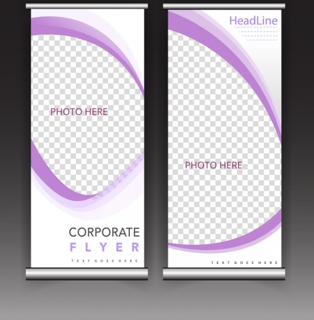 corporate flyer template curves checkered decor roll design