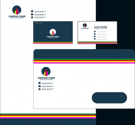 corporate identity collection charting logotype colorful lines decoration