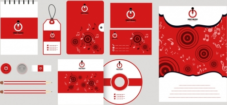 corporate identity collection red desgin music notes decoration