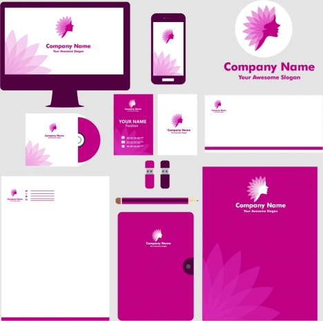 corporate identity collection violet design floral icon