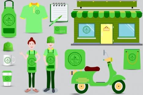 corporate identity sets green design matcha tea logo
