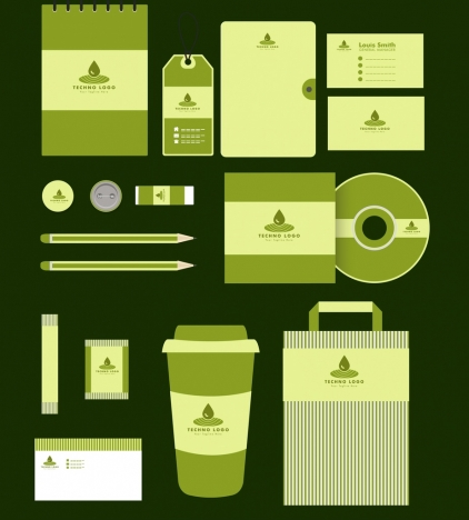 corporate identity sets green design water drops logotype