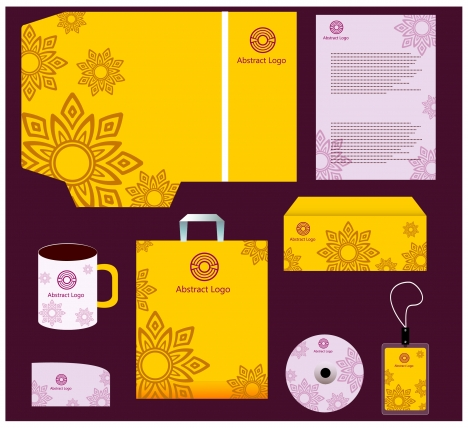 Corporate identity templates with yellow and violet design vectors ...