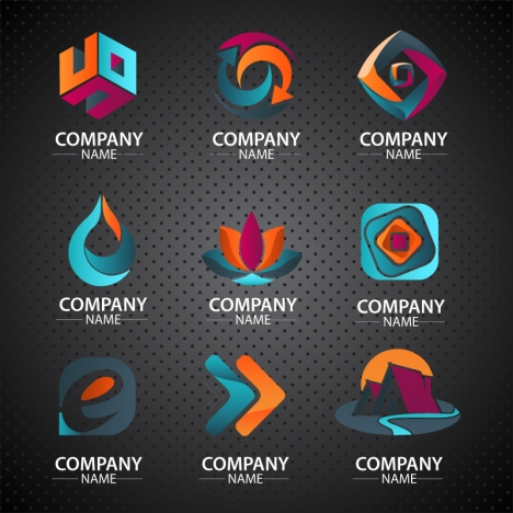 corporate logo design in various dark colored shapes