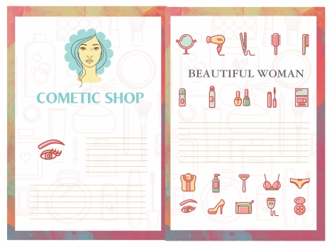 cosmetic brochure vector illustration with beauty tools