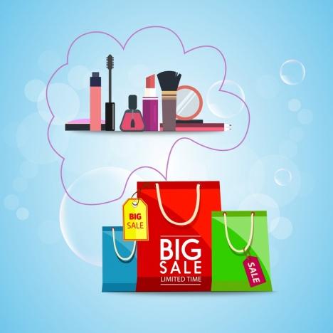 95d46f4fe0 Cosmetic sales background shopping bag makeup tools ornament vectors stock