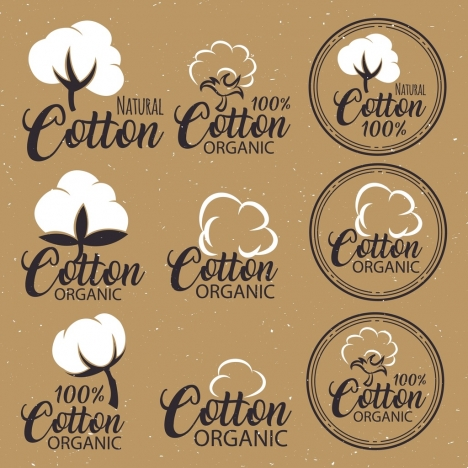 cotton product labels collection calligraphy flat flowers design