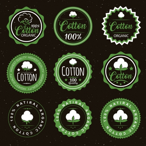 cotton products seals collection various circles flat design
