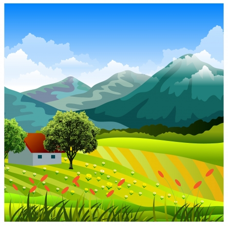 countryside landscape with mountain and grass field