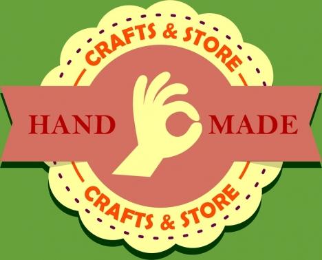 crafts store logo circle and ribbon decoration