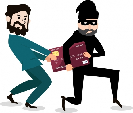 credit card advertisement businessman robber icons cartoon design