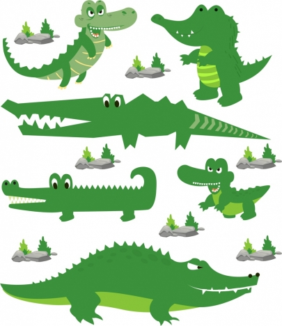 crocodile icons collection green stylized design