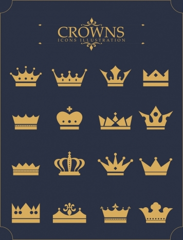 crown icons collection various yellow shapes