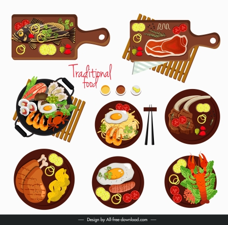 cuisines sets icons colorful flat sketch