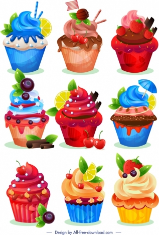 Cupcakes Templates Collection Colorful Modern Fruity Chocolate Decor