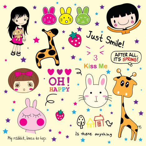 Cute doodle vectors stock in format for free download 1,023.14KB