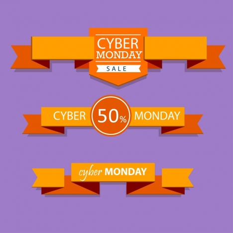 cyber monday sales ribbon sets 3d orange origami