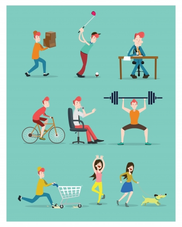 daily life vector design with various activities