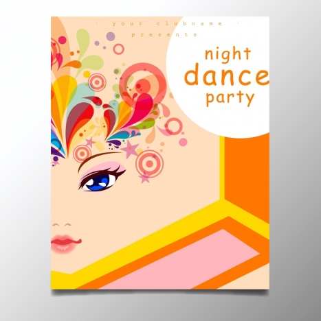 dance party poster lady portrait decoration colorful swirls circles
