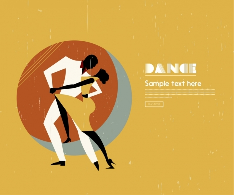 dancing advertisement colored retro style dancer icons silhouette