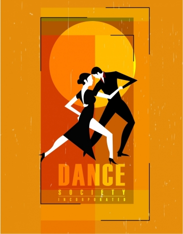 dancing club banner colorful retro design dancers icons