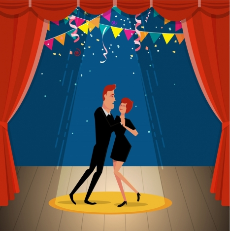 dancing couple icon classical stage background cartoon style