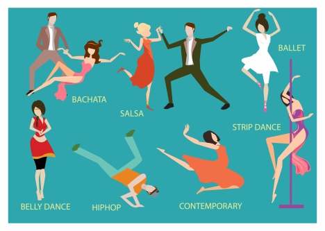 dancing styles vector illustration in colored flat design