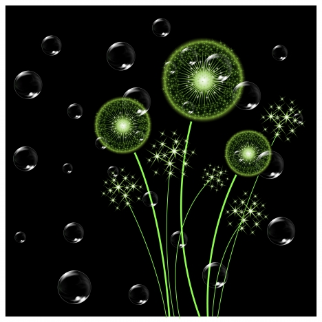dandelion and bubble in dark background
